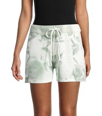 allison new york women's tie-dyed cotton shorts - green - size m