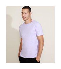 camiseta masculina manga curta básica gola careca lilás
