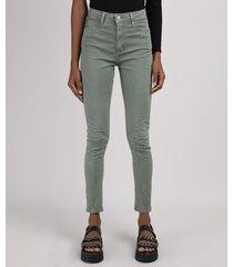 calça de sarja feminina sawary super skinny push up lipo cintura alta verde