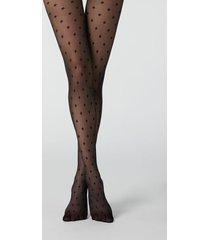 calzedonia check pattern 30 denier sheer tights woman black size 3/4