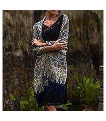 silk batik shawl, 'forest foliage' (indonesia)