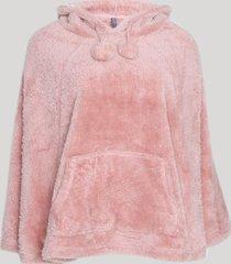 poncho de plush feminino com capuz em plush rosa