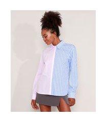 camisa de algodão listrada e xadrez vichy manga longa mindset multicor
