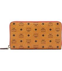 women's mcm visetos coated canvas zip wallet - brown
