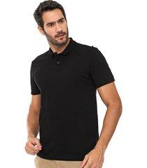 camisa polo forum reta lisa preta