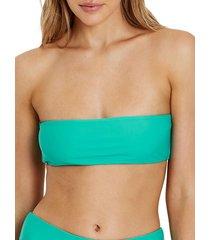 charlie holiday women's morgan bandeau bikini top - mint - size l