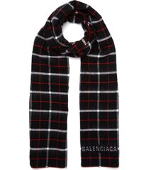 reversible check wool-silk scarf