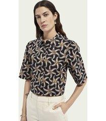 scotch & soda cropped blouse met print en pofmouwen