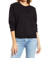 women's ag jadyn crewneck raglan cotton sweatshirt, size x-large - black