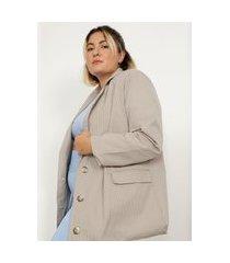 blazer longo oversized de algodão listrado plus size com bolsos mindset bege escuro