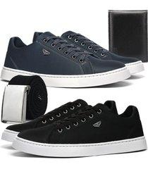 kit 2 sapatãªnis skateboard casual leve rebento preto e azul com cinto e carteira - azul marinho - masculino - lona - dafiti