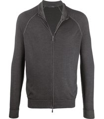 drumohr zip-up merino cardigan - grey