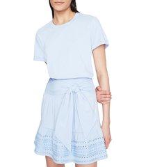 parker women's fleur eyelet hem mini dress - astral blue - size xl