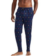 polo ralph lauren men's knit allover pony-print jogger pajama pants