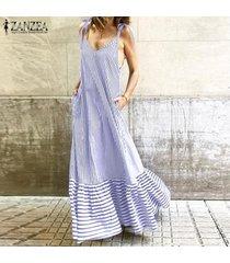zanzea mujeres s-5xl slip vestido de la raya larga floja maxi vestido de verano vestido de la playa de vacaciones -azul