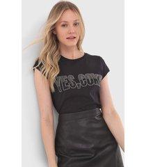 camiseta coca-cola jeans aplicações preta - kanui