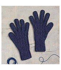 100% alpaca gloves, 'winter delight in indigo' (peru)