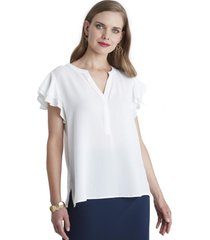 blusa manga con vuelos blanco lorenzo di pontti