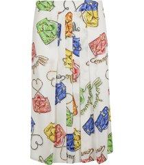moschino bag print pleated skirt