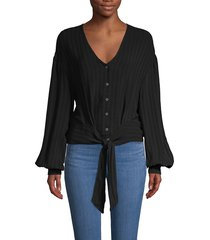 astr the label women's ribbed self-tie top - black - size xs