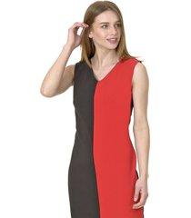 vestido jumper bicolor rojo bous