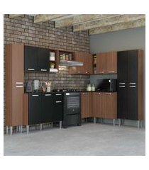 cozinha completa com armário e balcáo com tampo 8 peças pequim rock multimóveis carvalho avelá/preto