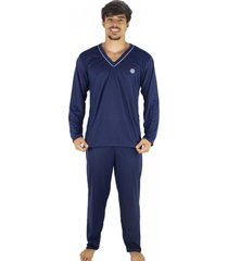 pijama mvb modas adulto blusa manga comprida e calça azul