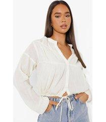 blouse met volle mouwen en ceintuur, ecru