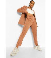 getailleerde baggy broek met krijtstrepen, karamel