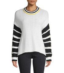 striped-sleeve sweater