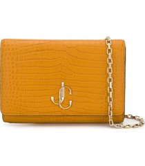 jimmy choo varenne crocodile-embossed clutch - yellow
