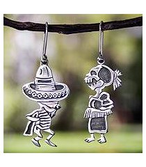 sterling silver dangle earrings, 'skeletal hat dance' (mexico)