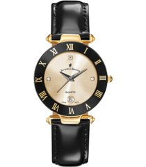 jacques du manoir ladies' black genuine leather strap with goldtone case and black and goldtone dial, 33mm