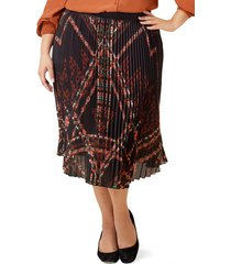 plus size women's maree pour toi pleated geo print chiffon skirt