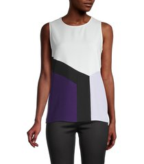 calvin klein women's colorblock shell top - white black combo - size s