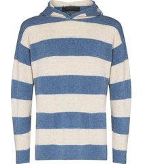 the elder statesman tes hooded cashmere hoodie - blue