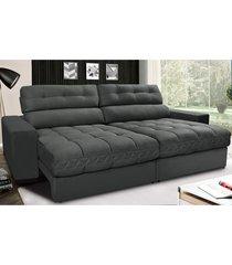 sofã¡ retrã¡til e reclinã¡vel com molas ensacadas cama inbox master 2,12m tecido suede cinza - incolor - dafiti