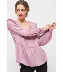 blusa io lisa  manga vuelos lila - calce regular