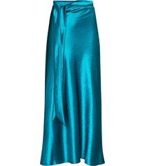 collina strada ribbon detail satin midi skirt - blue