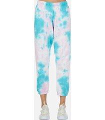 nate crop sweatpant - l pink/turquoise tie dye