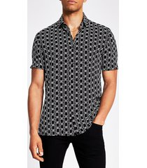 river island mens black chain printed slim fit shirt