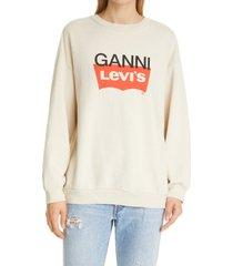 women's ganni x levi's logo graphic sweatshirt, size x-small - beige