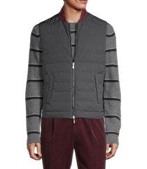 brunello cucinelli men's reversible baseball-collar vest - charcoal - size m