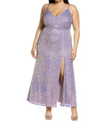 plus size women's morgan & co. sequin embellished gown, size 20w - pink