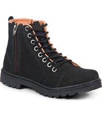 bota coturno masculina couro zíper cano médio leve conforto preto