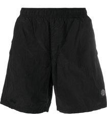 stone island logo-patch crinkled swim shorts - black