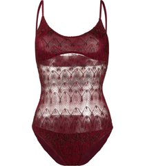 missoni mare sheer panelled one piece - red