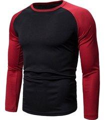 colorblock splicing raglan sleeve t-shirt