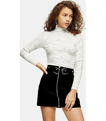 petite grey knitted marl funnel neck top - grey marl