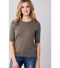 basic trui met korte mouwen van katoen-mix